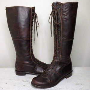 STUART WEITZMAN Tall Leather Lace-up Combat Boots